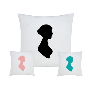 Jane Austen Cushion with Bust Silhouette. Available in Black, Pink & Blue