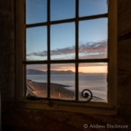 Dawn over Lyme Bay through a window in Sundial House, Lyme Regis 23_11_15-1 (1000px)