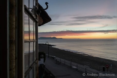 Dawn over Lyme Bay through a window in Sundial House, Lyme Regis 23_11_15-2 (1000px)
