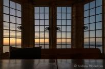 Dawn over Lyme Bay through windows in Sundial House, Lyme Regis 23_11_15 (1000px)