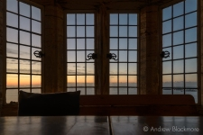 Dawn over Lyme Bay through windows in Sundial House, Lyme Regis 23_11_15 (1000px)