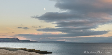 Evening cloudscape with moon over Golden Cap from Sundial House, Lyme Regis 22_11_15 (1000px)